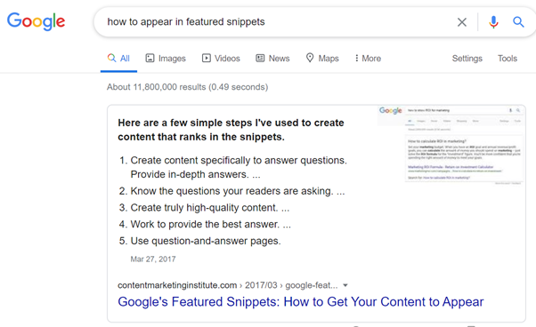 Example of features snippet - Google